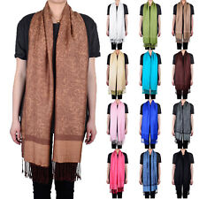 Solid Color Pashmina Paisley Floral Silk Wool Scarf Wrap Shawl Soft Classic