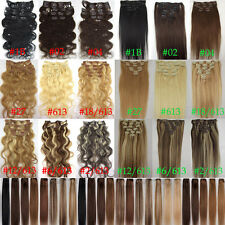 "15""-30"" STRAIGHT&WAVY REAL REMY CLIP IN HUMAN HAIR EXTENTIONS 70G 100G 120G Lot"