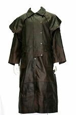 Mens Brown Real Thick  Hide Leather DUSTER  Riding Trench Long Coat Jacket