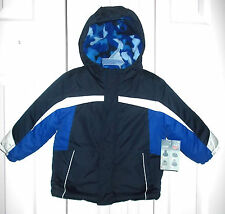 NWT Boys sz 24 mo Blue Camo Cold Weather Hooded Lined Zip Up Velcro Winter Coat!