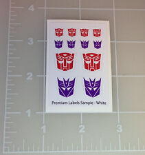 Premium Labels Samples Autobot Decepticon Insignia Symbol Sticker Sheet