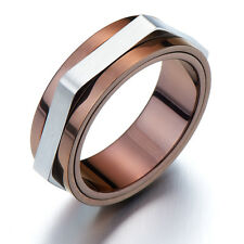 Refined Style Stainless Steel Man Ring Spinner Unisex Ring  9MM