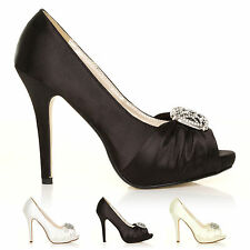 NEW LADIES DIAMANTE HIGH HEELS WOMENS SATIN WEDDING BRIDAL PARTY SHOES SIZE GIRL