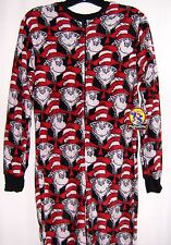Women's Dr Suess CAT IN THE HAT One Piece Fleece Footed Footie Pajamas 2286 S-XL