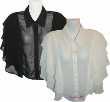 New Ladies Women's Frilled Tops Shirts Black & White Casual Party UK Size S - L