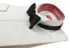 """SLIMMER FIT WHITE Classic Wing Collar Shirt Double Cuff Wedding/Proms 14"""" -18"""""""