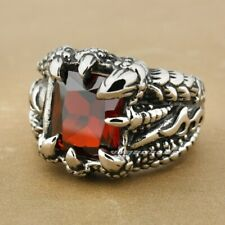 Huge Red Ruby Dragon Claw 316L Stainless Steel Mens Biker Rocker Ring N020