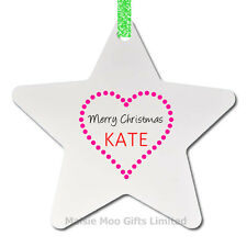 Personalised Name Star Christmas Tree Decoration Ornament Gift Love Heart Xmas