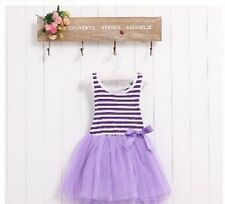 BNWT Purple & White Striped Tutu Dress Summer/Party Dress 18M-5YRS -SKU044