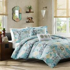 BEAUTIFUL BLUE AQUA TEAL WHITE YELLOW BEACH PAISLEY TROPICAL CHIC COMFORTER SET