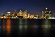 DETROIT SKYLINE AT NIGHT GLOSSY POSTER PICTURE PHOTO windsor pistons big gm 859