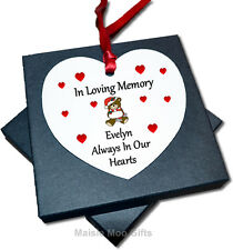 Personalised In Loving Memory Memorial Christmas Heart Tree Ornament Decoration