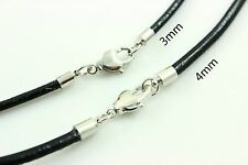 "3-4mm 14""-30"" Black Twist Genuine Leather Necklace Cords Stainless steel Wholesa"