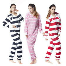 Women Unisex Stripe One Piece Jumpsuit Hoody Fleece All In One Tracksuit Romper