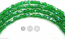 "Czech Fire Polished Round Faceted Beads in Spring Green AB coated, 16"" strand"
