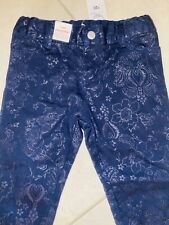 """Girls New With Tags """"Daisy Story"""" Navy Floral Drill Stretch Pants- Size 3,4,5,6"""