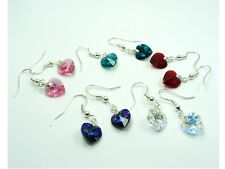 1 pair 925 STERLING SILVER Genuine SWAROVSKI Crystal HEART Birthstone EARRINGS