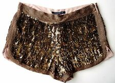 FRENCH CONNECTION Sequin BRONZE GOLD Hotpants Shorts Clubbing UK12 14 16 £199