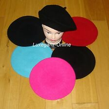 Unisex Women Girls Wool Blend Beret Plain French Style Colour Winter Autumn Hat