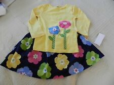 NWT Gymboree Showers of Flowers Yellow Flower Top~Navy Floral Skirt 4 4T 7