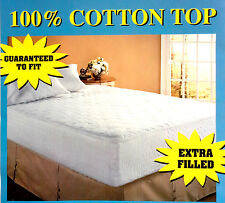 100% COTTON FABRIC XTRA FILL TOPPER FITTED MATTRESS COVER PAD ALLERGY PROTECTOR