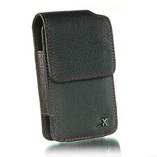 New Vertical Black Red Border Leather Belt Clip Pouch Holster Case for Phones