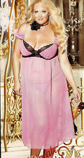Plus Size SEXY Pink Silky Underwire Long Gown Lingerie  1X 2X 3X  SH20520