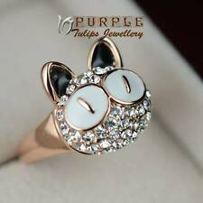 18CT Rose Gold Plated Cute Cat Ring W/ Gen Swarovski Crystals
