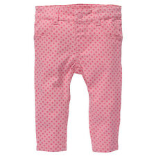 Baby Girls New With Tags Geranium Pink Spotted Stretch Jeans/Pants-Size 3-18 Mth