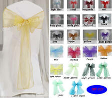100 PCS Wedding Organza Chair Cover Sashes Sash Party Banquet Bow Colours Decor