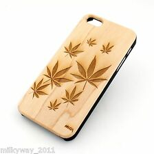 W2 REAL WOOD W/ PLASTIC CASE COVER FOR IPHONE 5 5S PLANT LIFE weed marijuana 420