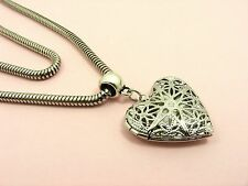 Vintage SNAKE CHAIN with FILIGREE HEART Locket or Disc Box LOCKET Chain NECKLACE
