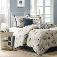 BEACH CORAL BLUE IVORY WHITE TROPICAL SHELL OCEAN NAUTICAL GREY COMFORTER SET