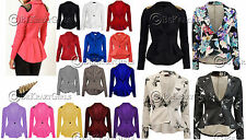 New Womens Crop Frill Shift Slim Fit Peplum Blazer Jacket Coat Ladies Size 8-24