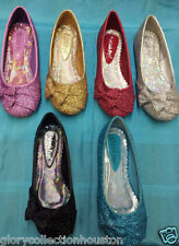 NEW T4 Pageant Flower Girl Dance Sparkling GLITTER ballerina flats bow tie shoe