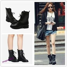 New Style Womens Cool Black Punk Knight Lace-up Short Boots Shoes 7 Sizes
