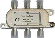 4 way tap. 12dB - 27dB . Class A shielded, For VHF, UHF and Sat distribution.