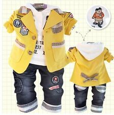 New Fall baby boy suits 3pcs suits+hoody+jeans baby boy outfits set clothes 1-4T