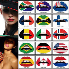 Flag Lip Sticker Art Temporary Tattoo Transfe Party Lipstick - MANY DESIGNS