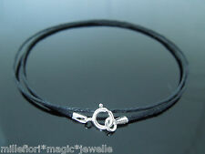 "1mm Black Waxed Cord & 925 Sterling Silver Necklace 14"" 16"" 18"" 20"" 22"" 24"" etc"