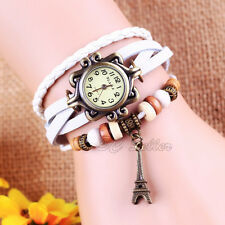 Women Girl's Retro Tower Weave Wrap PU Leather Bracelet Watch Fashion Wristwatch
