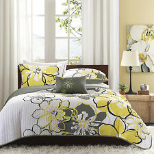 BEAUTIFUL 4 pc MODERN CHIC GREY YELLOW WHITE FLORAL TEXTURE SOFT QUILT SET NEW!!