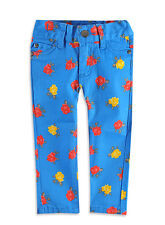 "Girls BNWT ""Pumpkin Patch"" Retro Mod Blue Stretch Floral Skinny Jeans–Sizes 5,6"