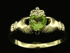 R148 Genuine 9K or 18K Solid Gold Natural Gemstone Claddagh Ring Friendship Love