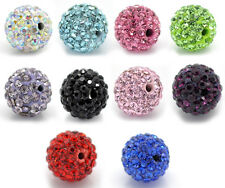 lotto Misto Colore Perle Perline a Sfera con Strass 10mm Dia.