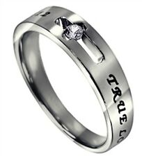 TRUE LOVE WAITS Ring Solitaire CZ Stone 1 Timothy 4:12 Scripture BRAND NEW
