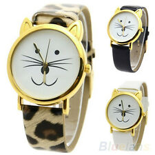Hot Creative Cat Face Shaped Girls Dial Gold Beard Alloy Faux Leather Watch B94U