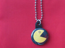 """Pac Man Logo Button Charm 30"""" Stainless Steel Chain Necklace New"""