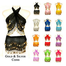 2 PCS BELLY DANCE HIP SCARF WRAP COIN BELT SKIRT HIPSCARF SILVER GOLD COIN COLOR