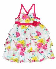 Girls BNWT White/Hot Pink PMFloral Ruffled Layered Summer Party Dress–Size4,5,6